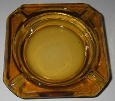 """Libbey Glass 1960s Amber Ashtray 3¾"""" Square Beveled corners Candleholder Trinket"""