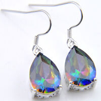 Birthday Jewelry Natural Rainbow Mystic Topaz Gemstone Silver Dangle Earrings