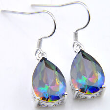Birthday Jewelry Natural Rainbow Mystic Topaz Gemstone Silver Dangle Earrings