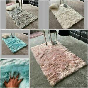 Large Super Soft Fluffy Sheepskin PLAIN Faux Fur Rugs Carpet Mat Home Deep Pile