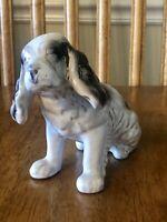 Vintage Red Clay Drip Glaze Black and White Spaniel Dog Figurine