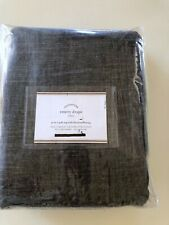 "NEW Pottery Barn Emery Linen Blackout Curtain Drape Panel 50x108"" Charcoal Gray"