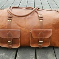 "30"" Men Vintage Genuine Holdall Leather Travel Luggage bag Gym duffle bag sports"