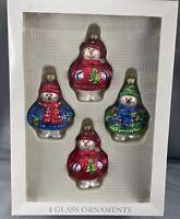 SNOWMAN GLASS ORNAMENTS SET OF 4 NEW IN BOX Christmas Decor NIB Winter Theme