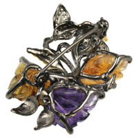 REAL CARVING AMETHYST CITRINE SAPPHIRE STERLING 925 SILVER BUTTERFLY BROOCH