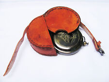 Antique,Maritime Push button Brass Compass 2.,with Leather case, good Lucking