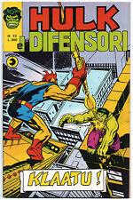 HULK E I DIFENSORI editoriale corno N.13 KLAATU ! luke cage power man 1975