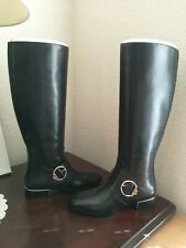 New TORY BURCH Sofia Riding Boots, size 8, Gold Buckle black leather, tall $498