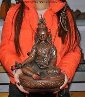 """13""""Tibetan Buddhism pure bronze Seat Guru Rinpoche Padmasambhava Buddha Statue"""