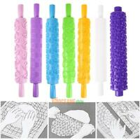 Non-stick Rolling Pin Baking Tools Fondant Embossed Cake Sugarcraft Mold Decor