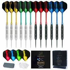12 Pack Steel Tip Darts Professional 22 Grams Metal Dart Set with 4 Colors