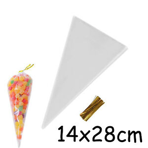 Clear cone bag Christmas handmade food packaging bags, pastry bags 14cmx28cm