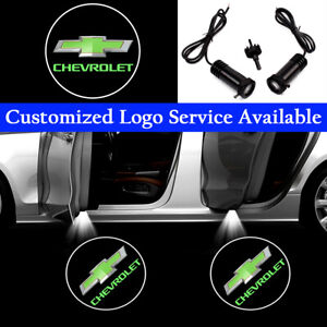 2x Green Chevrolet Logo Car Door LED Lights for Impala Silverado Tahoe Camaro