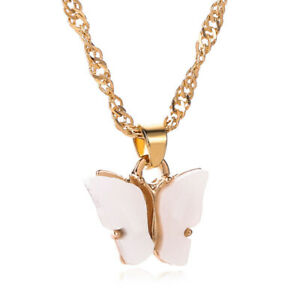 Fashion Women 18K Gold White Cute Butterfly Pendant Necklace Statement Jewelry