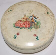 Vintage Daher Round Tin Box Victorian Musician Couple Lady Man England 5.25""