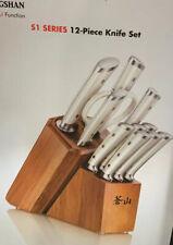 Cangshan S1 Series 12 pc Forged German Steel Knife Set -White -Acacia Wood Block
