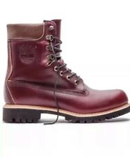 TIMBERLAND HORWEEN LEATHER 8 INCH WATERPROOF BURGUNDY BOOTS. MADE IN USA.