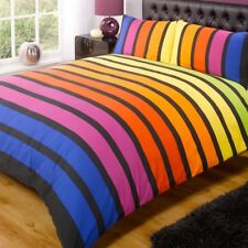 Contemporary Art Soho Multi Coloured Stripe Double Duvet Set by Rapport