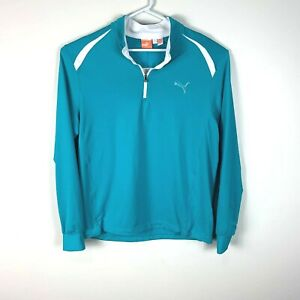 Puma Golf Cell Tech Blue 1/4 Zip Golf Sweater Pullover Size Men's Large