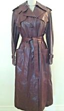 Etienne Aigner Vintage 70's leather trench coat full length long size S M
