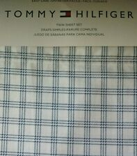 Tommy Hilfiger TWIN Sheet Set~Navy Blue & White Checkered Plaid