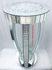 Sparkly Ornamental Decorative End Side Table Diamond Crush Crystal Silver Mirror
