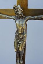 Antique French Large Bronze Christ Crucifix Cross Crowned Jesus Paris 19th.c