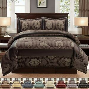3 Piece Comforter Throw Set Luxury Quilted Bedspread Double King Super King Size