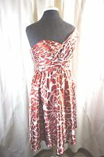 Alfred Angelo 7059 Burnt Orange Cream Floral One Shoulder Formal Dress Sz 6 NWT
