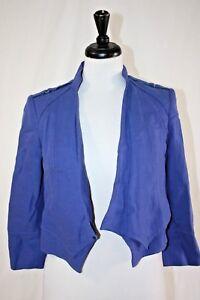 White House Black Market Open Front Drape Cropped Jacket, Periwinkle Linen 00