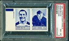 1960 61 TOPPS STAMP PANELS JOHNNY BUCYK / JACK EVANS PSA 8 NM-MT