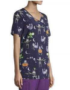 Scrubstar Halloween Sloth Pumpkins Shirt 3XL  Day Of The Dead Zombie