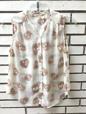 fd246383c42 Chelsea   Violet Sleeveless Top Sheer Ivory w  Jeweled Skulls Button Front Sz  L
