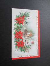 #K803- Unused Gold & Glittered Xmas Greeting Card Poinsettias and Ice Skaters