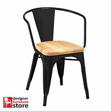 Replica Xavier Pauchard Tolix Metal Armchair - Matte Black - 3cm Oak Wood Seat