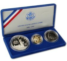 GOLD COIN United States Liberty Coins 1886 - 1986 3 Coin Proof Set w/ Case & COA