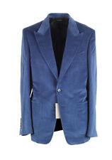 New TOM FORD Shelton Blue Velvet Suit Size 48 / 38R U.S. In Cotton Linen