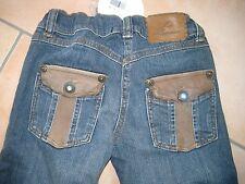 (103) Miss Blumarine Girls used look Jeans Hose mit Leder & Strass Besatz gr.116