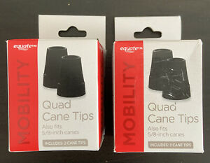 """2 Boxes of 2 Equate Mobility Quad Cane Tips Fits 5/8""""  Canes - Brand New In Box"""