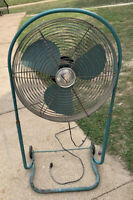 Mid-Century Emerson Electric Seabreeze Roll-about Adjustable 2 Speed Fan c.1955
