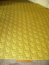 Vintage MidCenturyModern Regency Bedspread ROSES Green/Gold Tapestry Heavy102x83