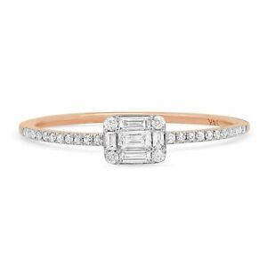 0.22CT 14K Rose Gold Baguette Cut Diamond Dainty Right Hand Band Ring Minimalist