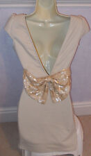 Ladies  PAPRIKA beige feature back sequin bow dress Size S