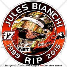 """JULES BIANCHI RIP Formula 1 F1 100mm(4"""") Stickers Adesivo in Vinile Per Auto"""