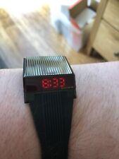 Bulova Computron Re-edition Red LED Retro Digital Watch Black Stealth 98C135 New