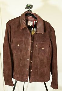 Levi's Brownie Suede Trucker Men's Jacket, Brown Large New with Tags
