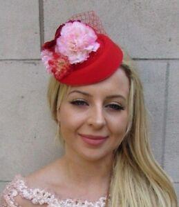 Red Light Pink Flower Pillbox Hat Hair Fascinator Clip Races Wedding Vtg 6042