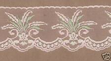 Pink & Green Rigid Lace Trimming 10mts 7.5cm Wide