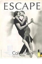 PUBLICITE 1996 ADVERTISING CALVIN KLEIN parfum pour homme et femme ESCAPE 050912