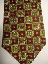 Gap Red Beige Tan Green Checker Polka-Dot Designs Silk Tie 58""